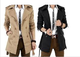 high quality 2016 men s dust coat overcoat spring summer men s trench coat long trench coats for men khaki black