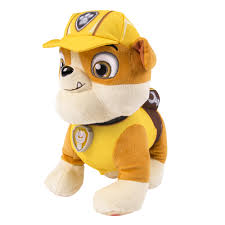 Paw Patrol Deluxe Lights And Sounds Plush Real Talking Rubble Paw Patrol Real Talking Rubble Plush Walmart Com