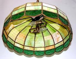 vintage stained glass hanging lamp antique light fixture lighting rewired old fixtures