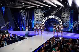 Beauty Pageant Stage Design Contestants Pose During Final Round National Beauty