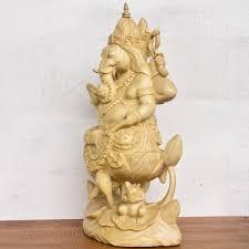 ganesha on lotus wood sculpture hindu elephant statue