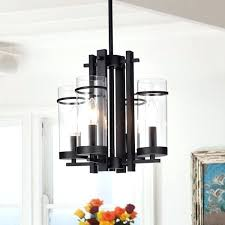 sigma 4 light pendant chandelier black metal clear glass shades on 4 light pendant elk lighting