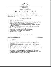 Network Technician Sample Resume Network Technician Resume Computer