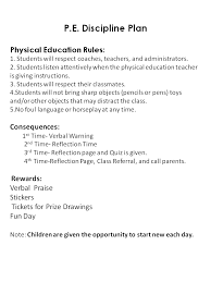 Physical Education / Rules and Consequences
