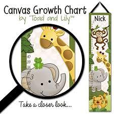 Wall Chart Jungle Canvas Growth Chart Jungle Safari Animals In Green Babies