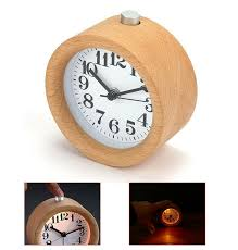 details about mini wooden classic round alarm clock with night light silence table clocks home