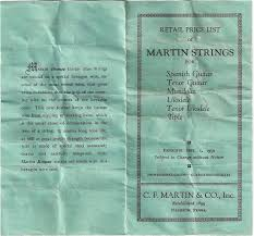 Vintage Martin Ukulele String Chart From 1950 Fan Guitar