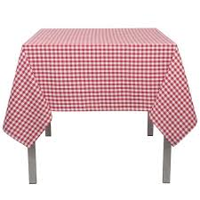 now designs 60 in x 90 in gingham red checd cotton tablecloth