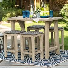 patio teak patio furniture deep seating set with black cushions