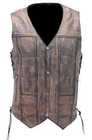vintage 10 pocket leather vest for conceal carry vma3540gn