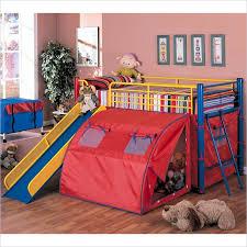 kids loft bed with slide. Modren Loft Coaster Kids Metal Twin Loft Bunk Bed With Slide And Tent Pertaining To Fun  Beds For Boys Decor 2