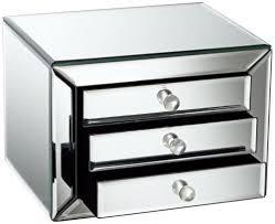 mirrored glass 3 drawer jewelry box