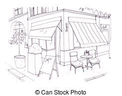 restaurant building clipart black and white. Beautiful And Freehand Drawing Of European Sidewalk Cafe Or Restaurant With Table And  Chairs Standing On City Street In Restaurant Building Clipart Black And White I