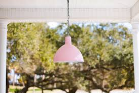 chain hung wesco pendant in blush pink