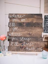 wooden sign mint and peach wedding sign two