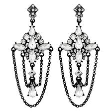 black crystal dd chandelier earring