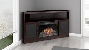 image of large corner electric fireplace tv stand