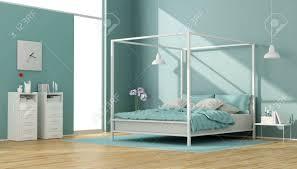 Blaue Und Weiße Schlafzimmer Mit Minimalistischem Himmelbett Und