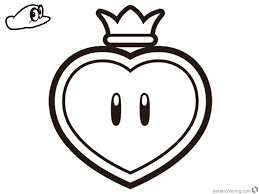 Super Mario Odyssey Coloring Pages Life Up Heart Free Printable