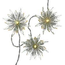 Kurt Adler Battery Operated 10 Light Warm White Snowflake Party Light Set