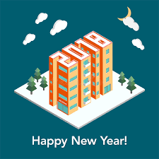 new year real estate flyers isometric buildings in the form of 2018 new year poster flyer