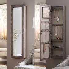 wall mounted locking mirrored jewelry armoire driftwood hayneedle