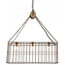 rusty metal cage chandelier with wood pulley