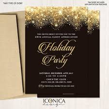 Corporate Holiday Party Invite Corporate Holiday Party Invitations Christmas Cards Black And Gold Sparkles Invites Printed Or Printable File Free Shipping Ise0041