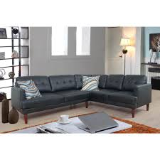 black faux leather sectional sofa set 2 piece