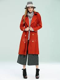 women s trench coat double ted wind proof long coat in red royal blue