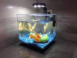 aquarium for office. 3-Gallon Fish Tank Aquarium Cube LED Light Freshwater Office Home Decoration NEW For