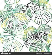 Mod Le Sans Couture Avec Des Feuilles De Plantes Tropicales Dessin Modele Dessin Feuille De Palmier L