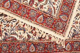 close up of persian silk rug