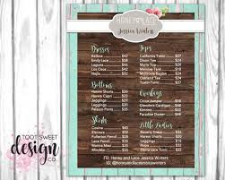 Honey And Lace Price List Poster Custom Honey Lace