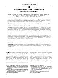 (PDF) <b>Radiofrequency facial</b> rejuvenation: Evidence-based effect