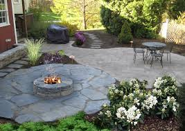 fire pit on natural goshen stone patio