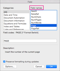 Microsoft Word Update All Fields Add Page Numbers To A Header Or Footer In Word For Mac Word For Mac