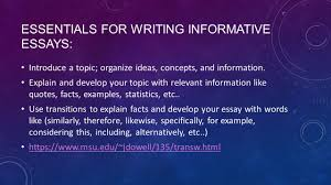 writing informative and expository essays crafting an informative  essentials for writing informative essays introduce a topic organize ideas concepts and