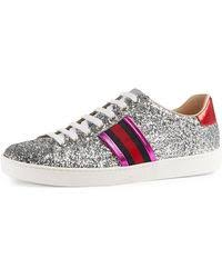 gucci trainers womens. gucci   new ace glitter low-top sneaker lyst trainers womens