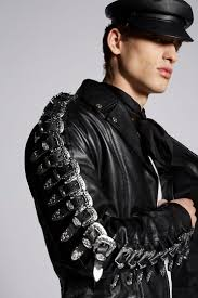 dsquared2 leather buckle jacket kaban man
