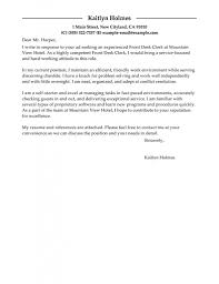 Best Front Desk Clerk Cover Letter Examples Livecareer With Work