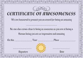 Certificate Of Awesomeness Template Certificate Of Awesomeness Template Certificate Certificate Of