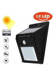 vls 12 led solar power pir motion sensor wall light outdoor waterproof garden lamp wall light landscape