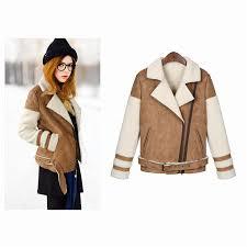 korean leather winter woman suede jackets long designer shearling coats biker warm turn collar vintage overcoat plus size
