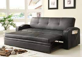 novak black leather sofa bed with pull