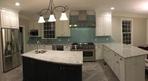 Clear Glass Backsplash Vapor Glass Subway Tile Kitchen Backsplash With Staggered Edges