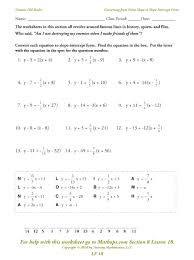 point slope formula worksheet math converting from point slope to slope intercept form functions linear graphs