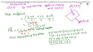 calc iii find an equation of plane equidistant from two points
