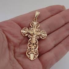 stunning huge 18k gold plating filigree cross pendant s by jewela