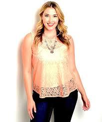 Zenobia Size Chart Zenobia Women Sheer Lace Top Plus Size Solid Peach Scoop